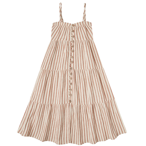 Rylee & Cru Tiered Maxi Dress, Amber/Natural Stripe