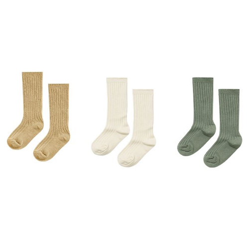 Rylee & Cru Knee Socks, Almond/Natural/Fern