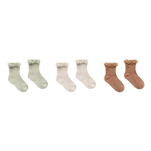 Rylee & Cru Lace Trim Socks, Sage/Shell/Terracotta