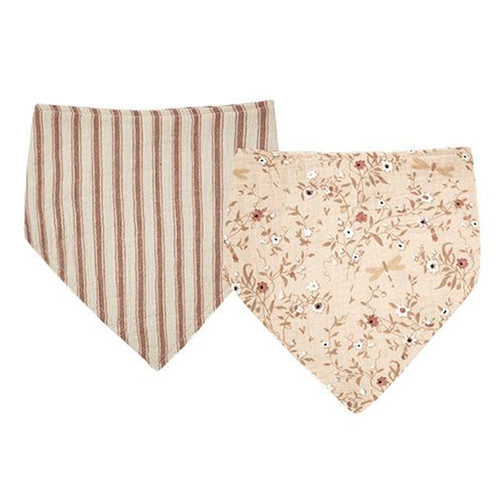 Rylee & Cru Bandana Bib Set, Amber/Natural Stripe + Dragonfly