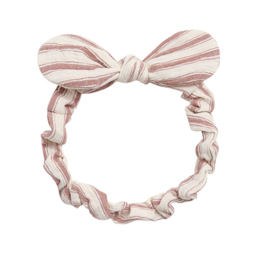 Rylee & Cru Baby Bow Headband, Amber/Natural Stripe