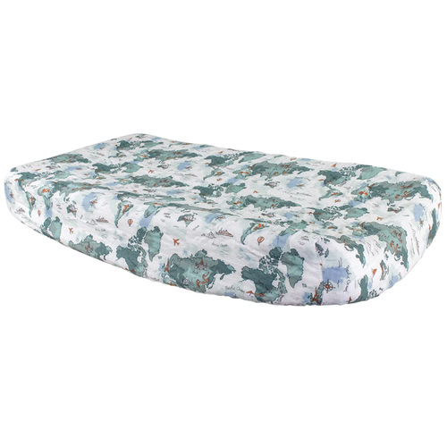 Muslin Changing Pad Cover, World Map