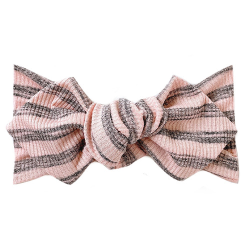 Top Knot Headband, Ribbed Blush/Grey Stripe