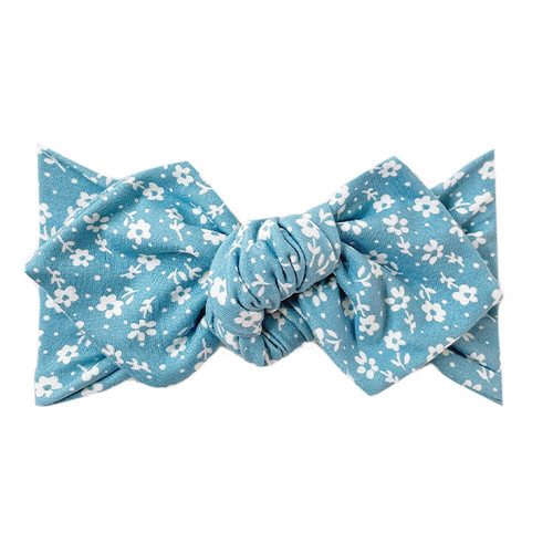 Top Knot Headband, Sky Blue Bloom
