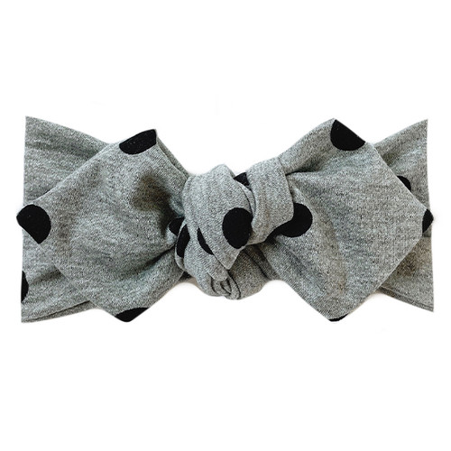 Top Knot Headband, Grey Dots