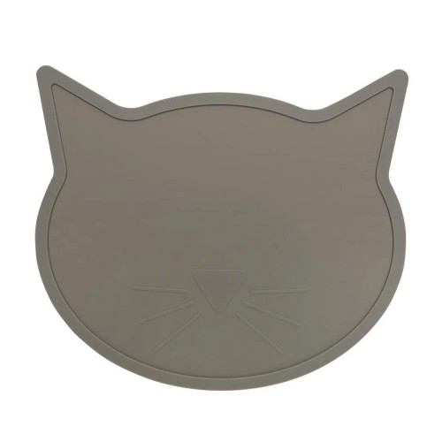 Cat Shaped Silicone Placemat, Warm Grey