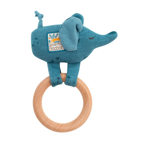 Wooden Elephant Ring Rattle
