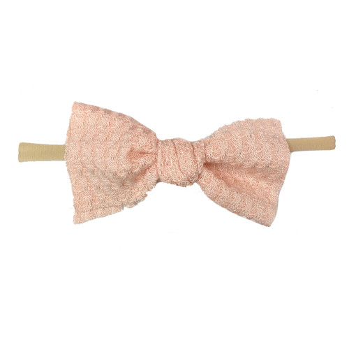 Skinny Waffle Bow, Pink