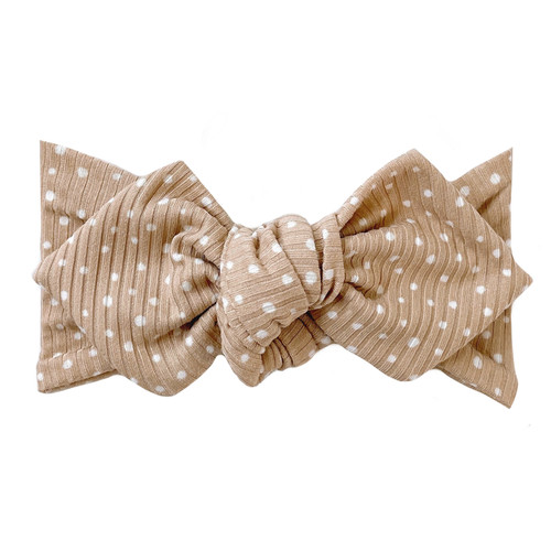 Top Knot Headband, Ribbed Beige Spottie