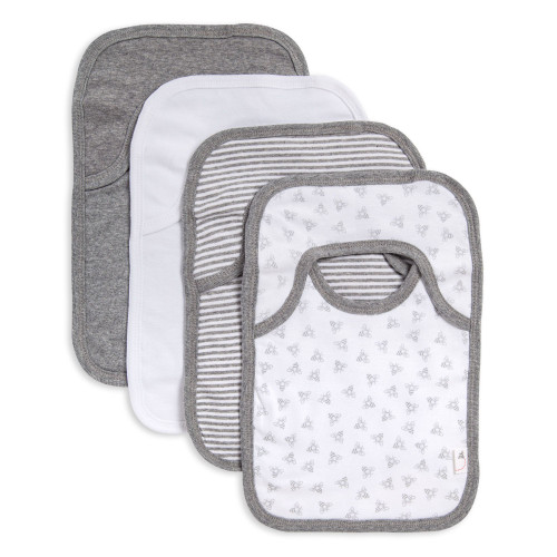 Burt's Bees Baby Organic 4-Pack Bibs, Heather Grey