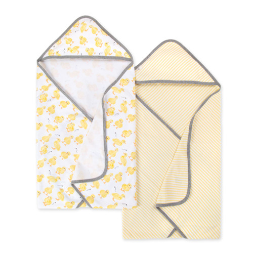 Burt's Bees Baby Organic Hooded Towel 2-Pack, Little Ducks