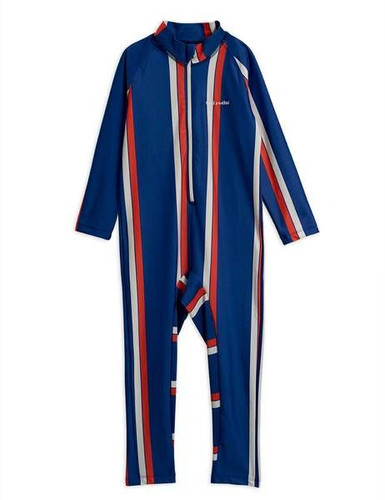 Mini Rodini UV Suit, Blue/Red Stripe
