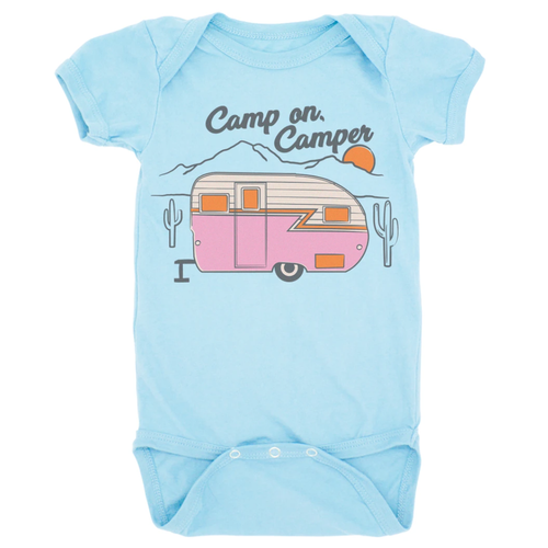 Graphic Bodysuit, Camp On Camper Blue