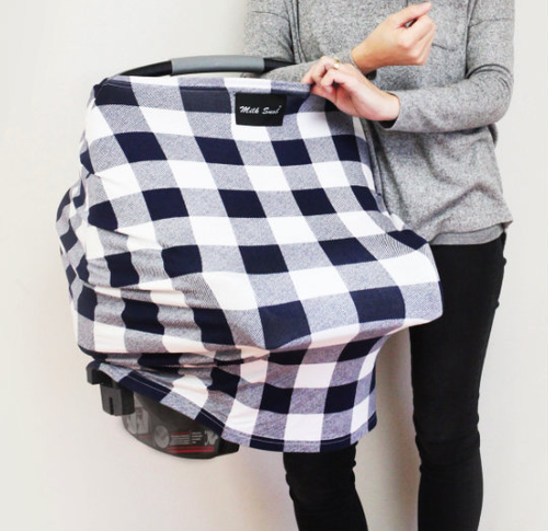 Milk Snob Car Seat Cover Navy Plaid