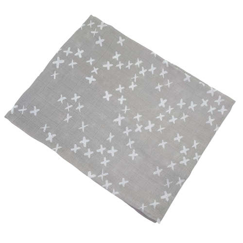 Muslin Swaddle, Silver Kisses