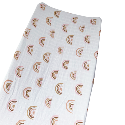 Muslin Changing Pad Cover, Pink Rainbow