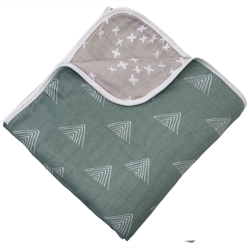 Reversible Muslin Quilt, Sage Mountain/Silver Kisses