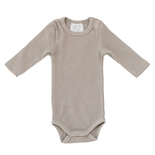 Ribbed Bodysuit, Taupe