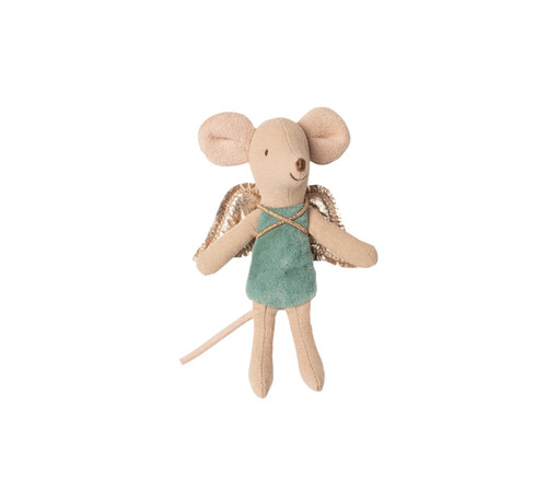Mouse Baby Fairy Ornament, Teal