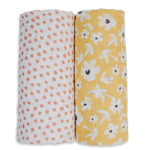 Cotton Muslin Swaddle 2-pack, Yellow Wildflower/Dots