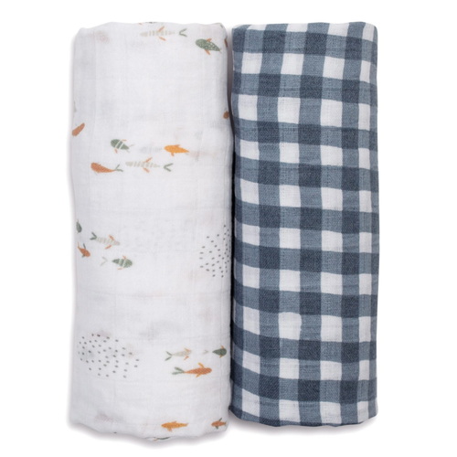 Cotton Muslin Swaddle 2-pack, Fish/Navy Gingham