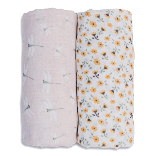 Cotton Muslin Swaddle 2-pack, Floral/Dragonfly
