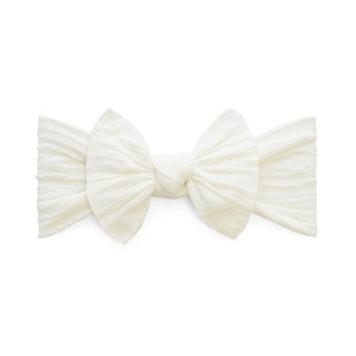 Cable Knit Knot Bow, Ivory