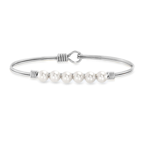 Classic White Crystal Pearl Bangle Bracelet, Silver