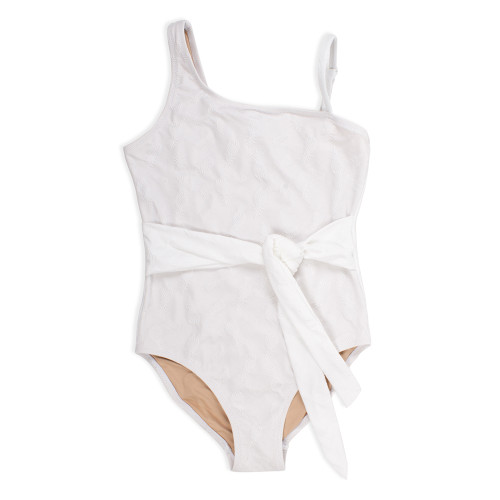 One-Shoulder Swimsuit, White Textured Pineapple