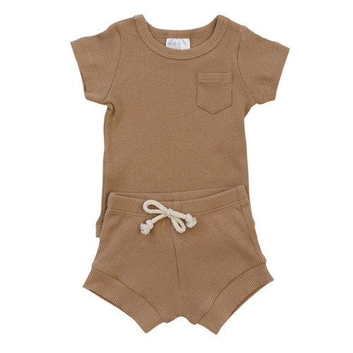 Ribbed Two Piece Shorts Set, Cafe