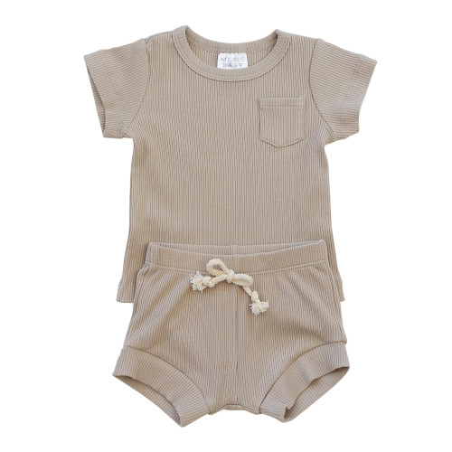 Ribbed Two Piece Shorts Set, Oatmeal