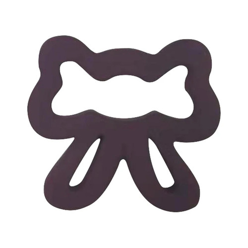 Silicone Bow Teether, Plum