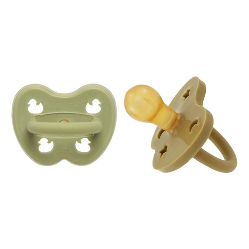 Hevea Pacifier 2-Pack, Hunter Green/Olive Round