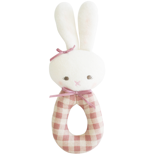 Bunny Grab Rattle, Rose Check