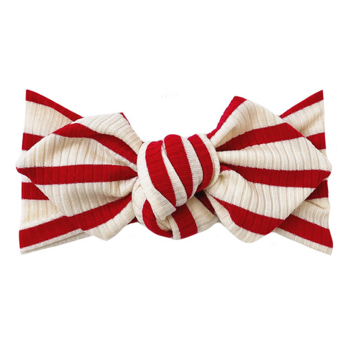 Top Knot Headband, Ribbed Red Stripes