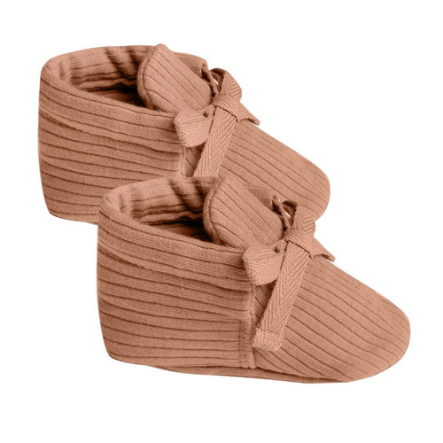Organic Ribbed Baby Booties, Terracotta