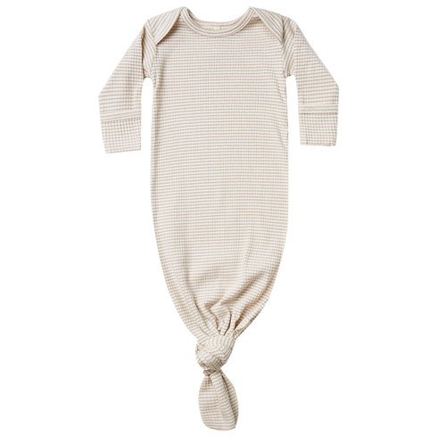 Ribbed Knotted Baby Gown, Ash Stripe