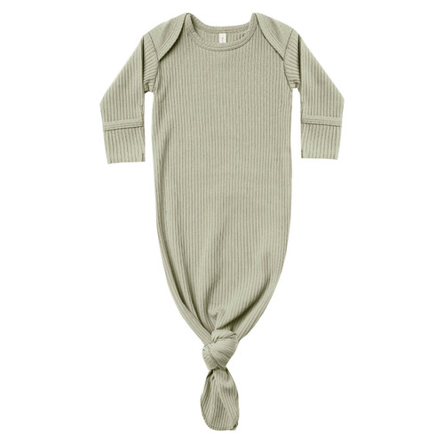 Ribbed Knotted Baby Gown, Sage