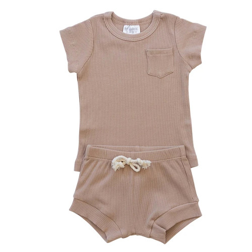 Ribbed Two Piece Shorts Set, Pale Pink