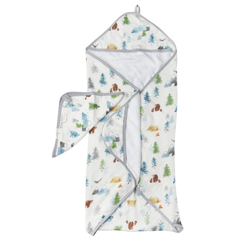 Terry Cloth & Bamboo Hooded Towel Set, Adventure Begins
