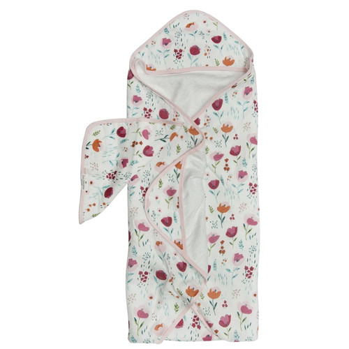 Terry Cloth & Bamboo Hooded Towel Set, Rosey Bloom