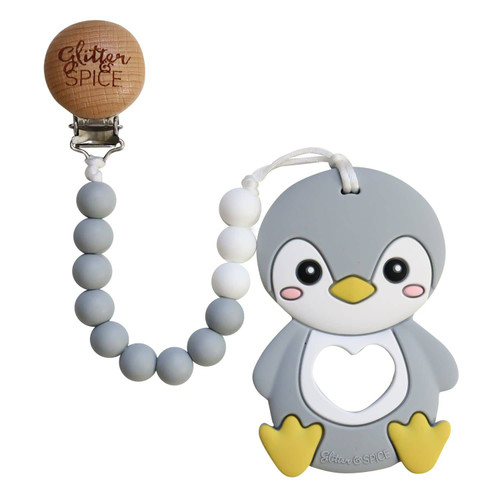 Silicone Teether with Clip, Penguin