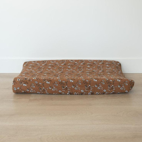 Muslin Changing Pad Cover, Vintage Ochre Floral