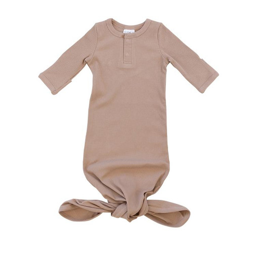 Organic Cotton Ribbed Knot Gown, Pale Pink