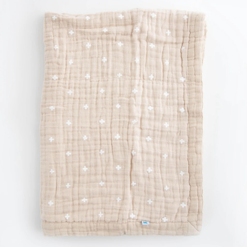 Cotton Muslin Baby Blanket, Taupe Cross