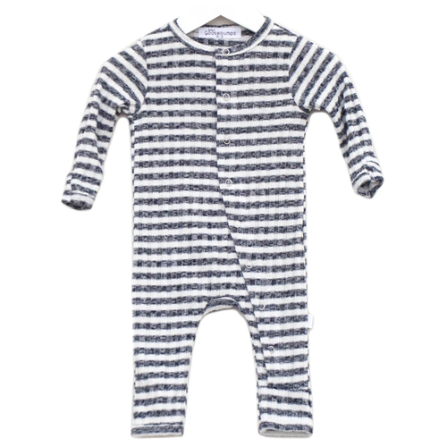 One Piece Ribbed Snap Romper, Midnight Stripe