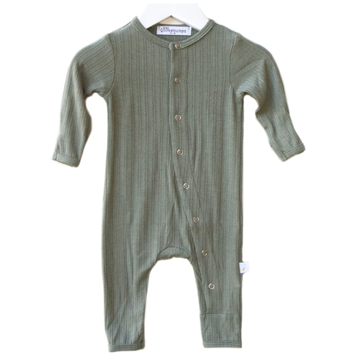 One Piece Pointelle Snap Romper, Moss