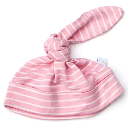 Knotted Hat / Pink Pin Stripe