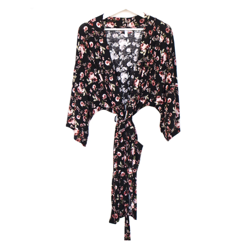 Lounging Robe / Black Floral