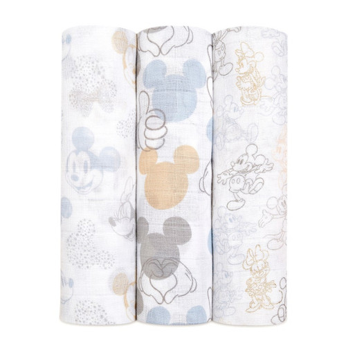 Disney™ Muslin Swaddle 3-Pack, Mickey + Minnie Mouse